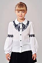 Красивая нарядная школьная блуза со вставками кружева
