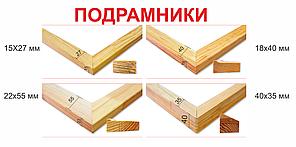 Підрамники 15х27 мм, 18х40 мм,22х55 мм,40х35 мм