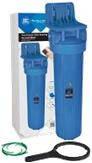 """20'' Синий обновленный усиленный натрубный корпус фильтра типа """"Big Blue"""", резьба присоед. 1''. Воздушный клапан, кронштейн, ключ, цветная упаковка."""