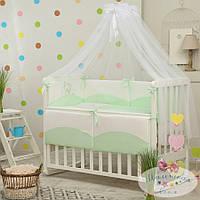 Набор в детскую кроватку Tutti зеленый  (7 предметов), фото 1