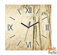"""Настенные квадратные часы """"Бежевый бамбук"""""""