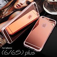Чехол силиконовый/TPU зеркальный Rose Gold для Iphone 6/6S