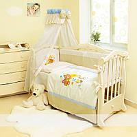 Детский постельный комплект Evolution «Мишка на луне» (Бежевый с голубым, А-011, 7 элементов), Twins