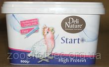 Корм молоко для ручного годування вигодовування папуг, канарок, амадин Deli Nature Делі Натюре Start + High protein 500 гр