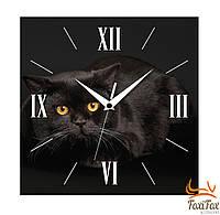 """Прикольные настенные часы """"Черный кот"""""""