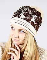 Вязаная шапочка шоколадного цвета