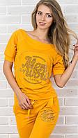 Брендовый турецкий гламурный спортивный костюм женский реглан Турция S M L XL XXL XXXL жёлтый, фото 1