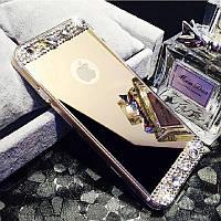 Чехол силиконовый зеркальный золотой с камнями  для Iphone 6+/6 plus/6S+