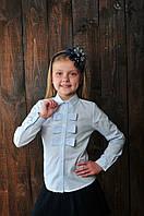 """Блуза  школьная для девочки """"бантики"""""""