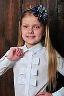 """Блуза  школьная для девочки """"бантики"""" в белом цвете"""