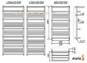 Полотенцесушитель MARIO Премиум Люксор  800/530/500  водяной , фото 2