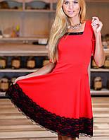 Платье с отделкой | Меланж с гипюром sk