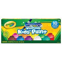 Краски смывающиеся 10 цветов в баночках (59 мл) Crayola Washable Kids Paint set of 10 Bottles