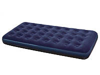 Односпальный надувной флокироваеный матрас Bestway синий 188 х 99 см