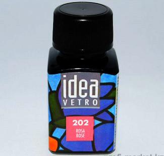 Витражная краска Идея Ветро Idea Vetro Красно-розовый 202 (60 мл),Maimeri,Италия.