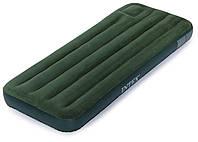 Односпальный надувной флокированный матрас Intex зеленый 76 х 191 см