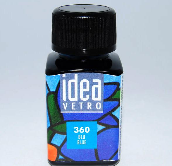 Витражная краска Идея Ветро Idea Vetro Лазурный 360 (60 мл),Maimeri,Италия.