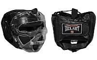 Шлем для единоборств с прозрачной маской Кожа ZEL ZB-5009-BK (р-р S-XL, черный)