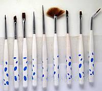 Набор кистей  для дизайна, китайской росписи  ногтей YRE Юж. Корея 9 шт
