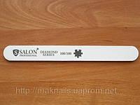 """Пилка """"Salon professional""""- белая, прямая, 100/100 грид  с алмазным напылением"""
