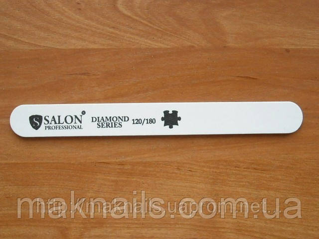 """Пилка """"Salon professional""""- белая, прямая, 120/180 грид  с алмазным напылением"""
