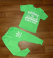 Костюм детский  спортивный летний для девочки футболка салатовая штаны  салатовые на манжете