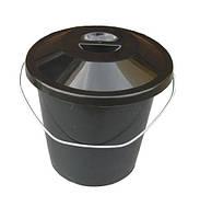 """Ведро пластиковое 10 литров чёрное с металлической ручкой и крышкой """"ПолимерАгро"""""""
