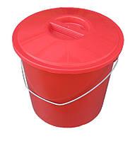 """Ведро пластиковое 17 литров цветное с металлической ручкой и крышкой """"ПолимерАгро"""""""