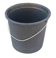 """Ведро пластиковое 17 литров чёрное с металлической ручкой """"ПолимерАгро"""""""