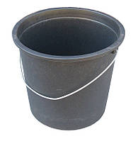 """Відро пластикове 17 літрів чорне з металевою ручкою """"ПолимерАгро"""", фото 1"""