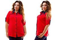 Рубашка женская полу батал, гепюр-макраме