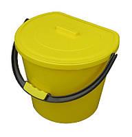 """Ведро для мусора пластиковое 11 литров пристенное """"Горизонт"""", фото 1"""