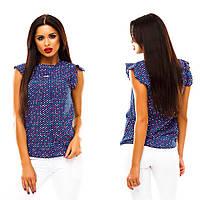 Женская шифоновая летняя блуза цветные сердечки