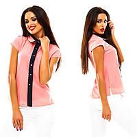 Женская шифоновая стильная летняя блуза с воротником, фото 1