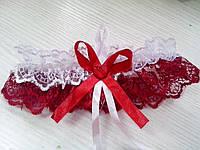 Свадебная подвязка бордовая (20)