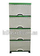 Комод пластиковый Elif зеленый плетенный , фото 1