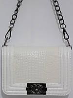 Клатч Шанель белый ручка-цепочка, фото 1