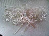 Свадебная подвязка кремовая/ айвори (06)