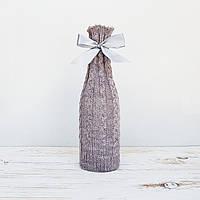 Чехол на бутылку Ohaina вязаный в косы  цвет светлая лаванда, фото 1