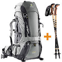 Комплект рюкзак Deuter Aircontact 60+10 SL granite/black + палки Leki Retro