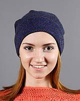 Модная шапка с узором из синих страз
