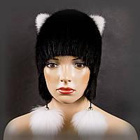 """Меховая шапка из ондатры """"Кошка"""" (С длинными ушами)"""