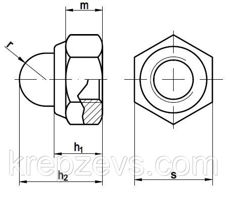Гайка М16 колпачковая самоконтрящаяся DIN 986