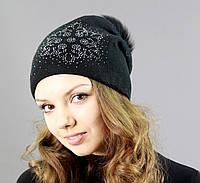 Женская шапка с помпоном