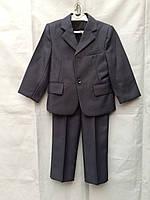 Форма для садика детская костюм тройка - пиджак,жилетка,брюки на мальчика 4-7 лет,темно серый