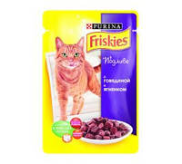 Friskies - корм Фрискас для взрослых кошек с говядиной и ягненком в подливе 100g