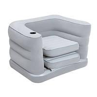 Надувное кресло раскладное винил, флок 200х102х64 см