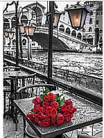 """Картина для рисования камнями Diamond painting Алмазная вышивка """"Венеция розы и мост"""""""
