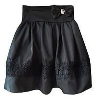 Школьная юбка с кружевной вставкой р. 6-9 лет