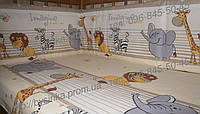 """Бортики и комплект постельки из 3х ед в детскую кроватку -""""Мадагаскар""""."""
